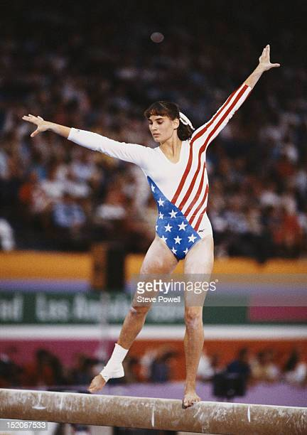 Tracee Talavera of the United States performs during the Women's Balance Beam event on 5th August 1984 during the XXIII Olympic Summer Games at the...