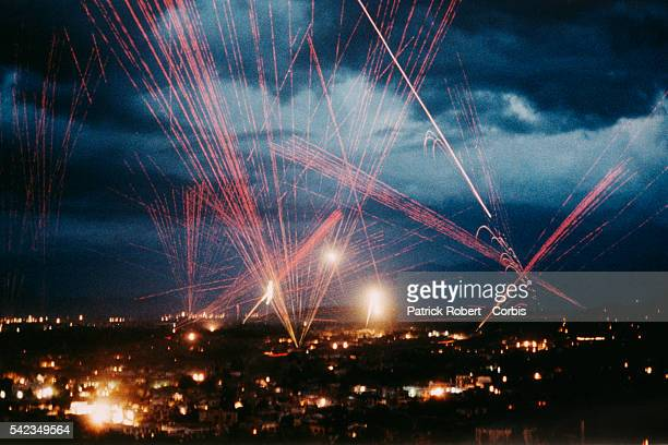 Tracer fire lights illuminate Kabul to celebrate victory after the city was captured by the mujahideen following the defeat of Mohammad Najibullah's...