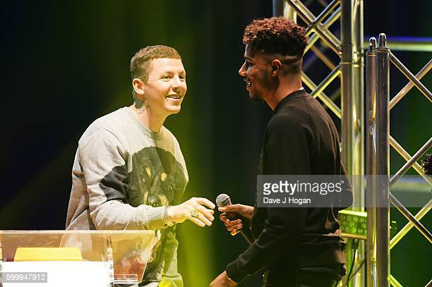 Tracey accepts the award for Best Breakthrough from Professor Green during the KA & GRM Daily Rated Awards at The Roundhouse on September 7, 2016 in...
