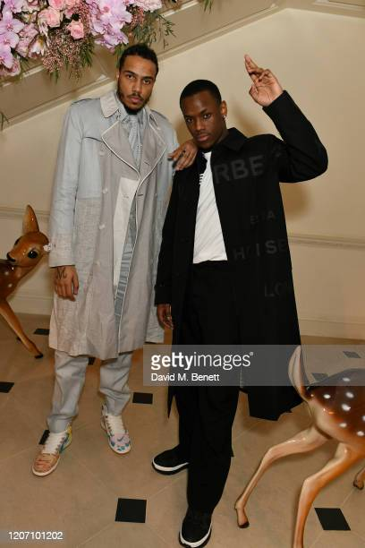 AJ Tracey and Micheal Ward attend the Burberry Autumn/Winter 2020 show after party hosted by Riccardo Tisci on February 17 2020 in London England
