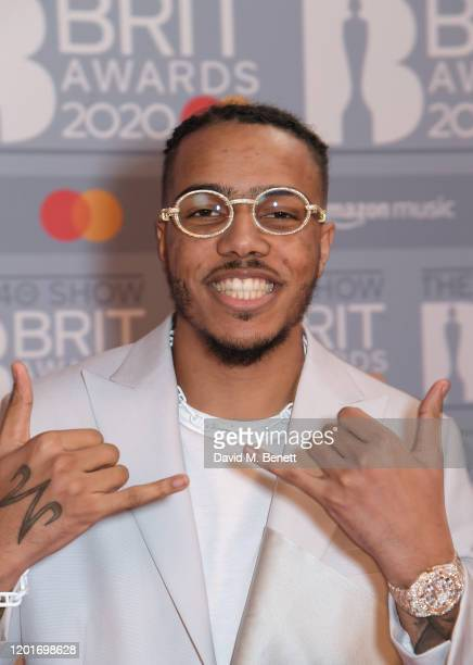 AJ Tracey attends The BRIT Awards 2020 at The O2 Arena on February 18 2020 in London England