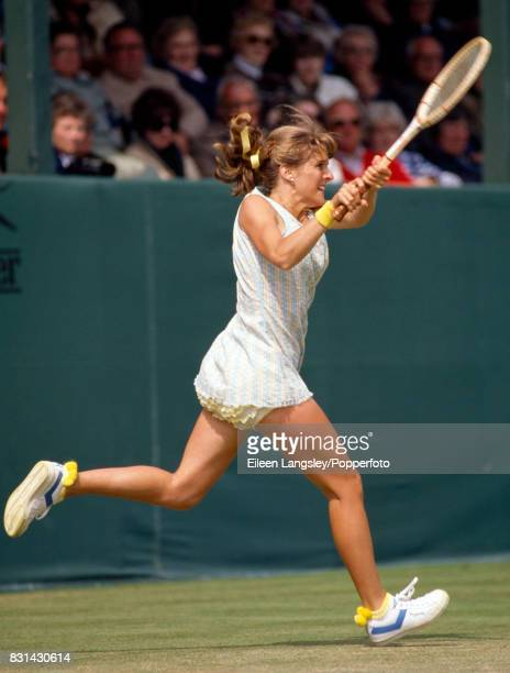 Tracey Austin of the USA in action during a women's singles match at Eastbourne circa June 1981