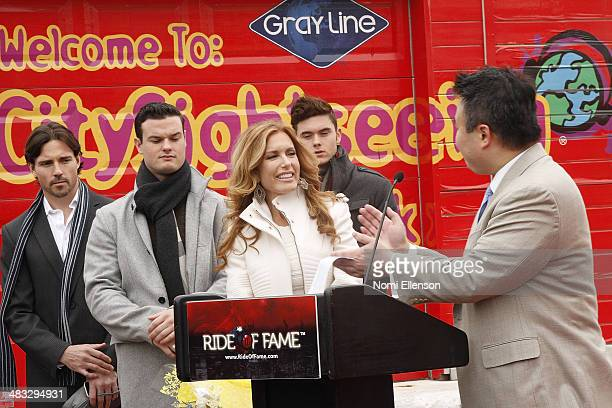 Tracey Bregman Aaron Cameron and sons Austin and Landon Recht attend the Ride of Fame induction ceremony for Tracey Bregman at Pier 78 on April 7...
