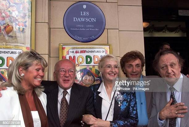 Tracey Dawson widow of the late comedian Les Dawson with his comedy partner and close friend Roy Barraclough and comedians Su Pollard Frank 'foofoo'...