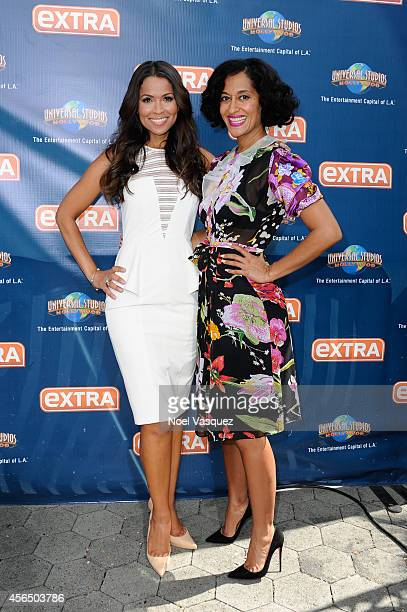 Tracey Edmonds and Tracee Ellis Ross visit 'Extra' at Universal Studios Hollywood on October 1 2014 in Universal City California