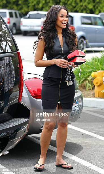 Tracey Edmonds is seen on the set of Extra on April 25 2014 in Los Angeles California