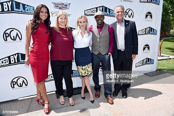 Tracey Edmonds producer Bruna Papandrea actress Reese Witherspoon moderator Will Packer and PGA National Executive Director Vance Van Petten attend...