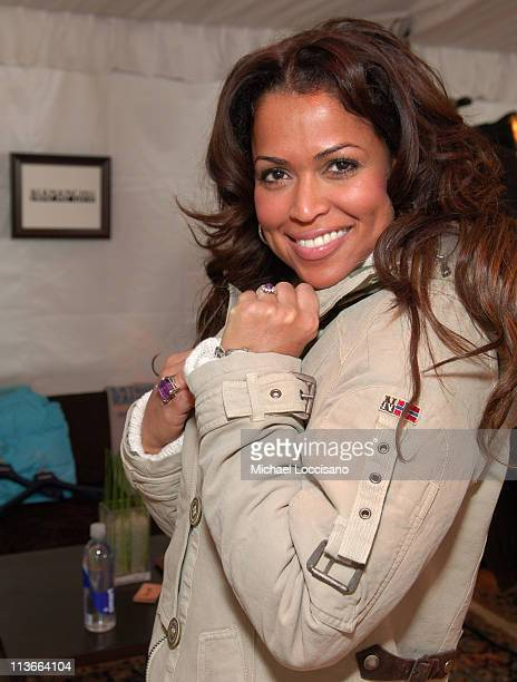 Tracey Edmonds wearing Napapijri at The Ice Lounge presented by The North Face Lexus and St Regis *Exclusive*