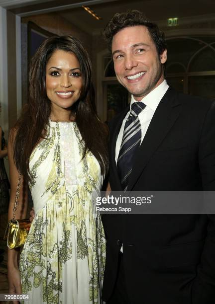Tracey Edmunds and Rocco Dispirito at MercedesBenz Oscar Viewing Party at the Four Seasons on February 24 2008 in Beverly Hills California