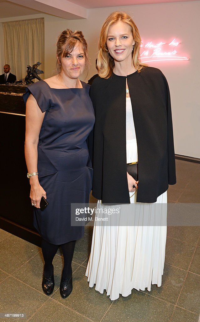 Tracey Emin (L) and Eva Herzigova attend the launch of 'Serpentine', a new fragrance by The Serpentine Gallery and fashion house Commes des Garcons featuring bottle artwork by Trace Emin, on April 28, 2014 in London, England.