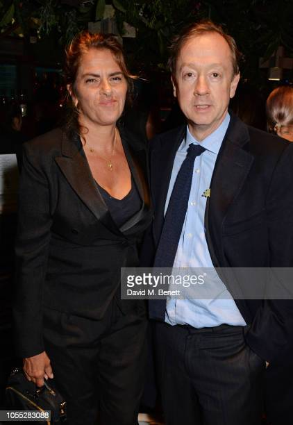 Tracey Emin and Geordie Greig attend the GQ 30th anniversary party at SUSHISAMBA Covent Garden on October 29 2018 in London England
