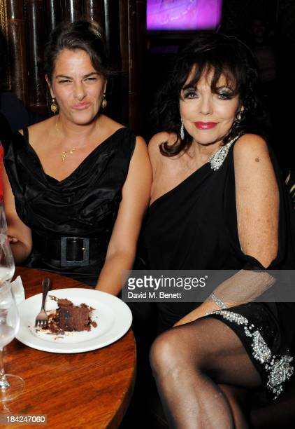 Tracey Emin and Joan Collins attend a private dinner hosted by Joan Collins at Mahiki on October 12 2013 in London England