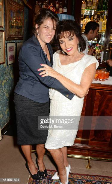Tracey Emin and Joan Collins attend Tracey Emin's birthday party at Mark's Club on July 3 2014 in London England