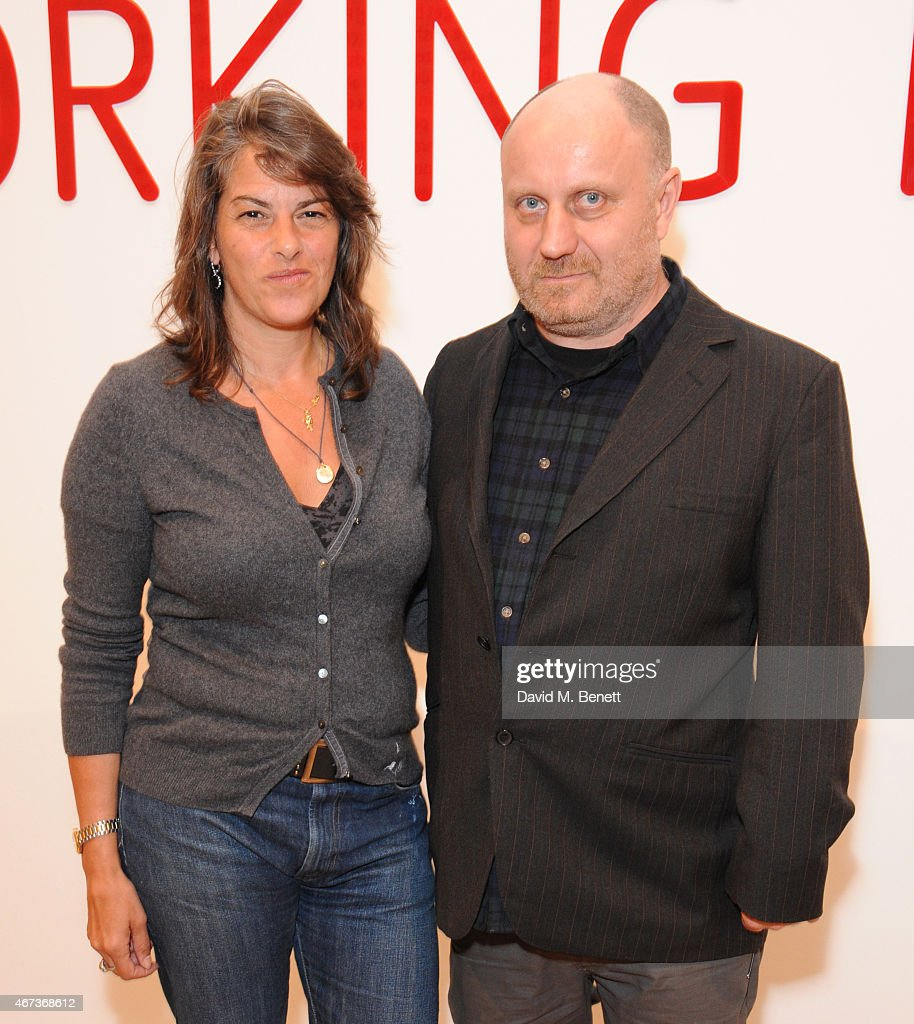 Tracey Emin and Nick Waplington attends a private view of 'Nick Waplington/Alexander McQueen: Working Progress' at the Tate Britain on March 23, 2015 in London, England.