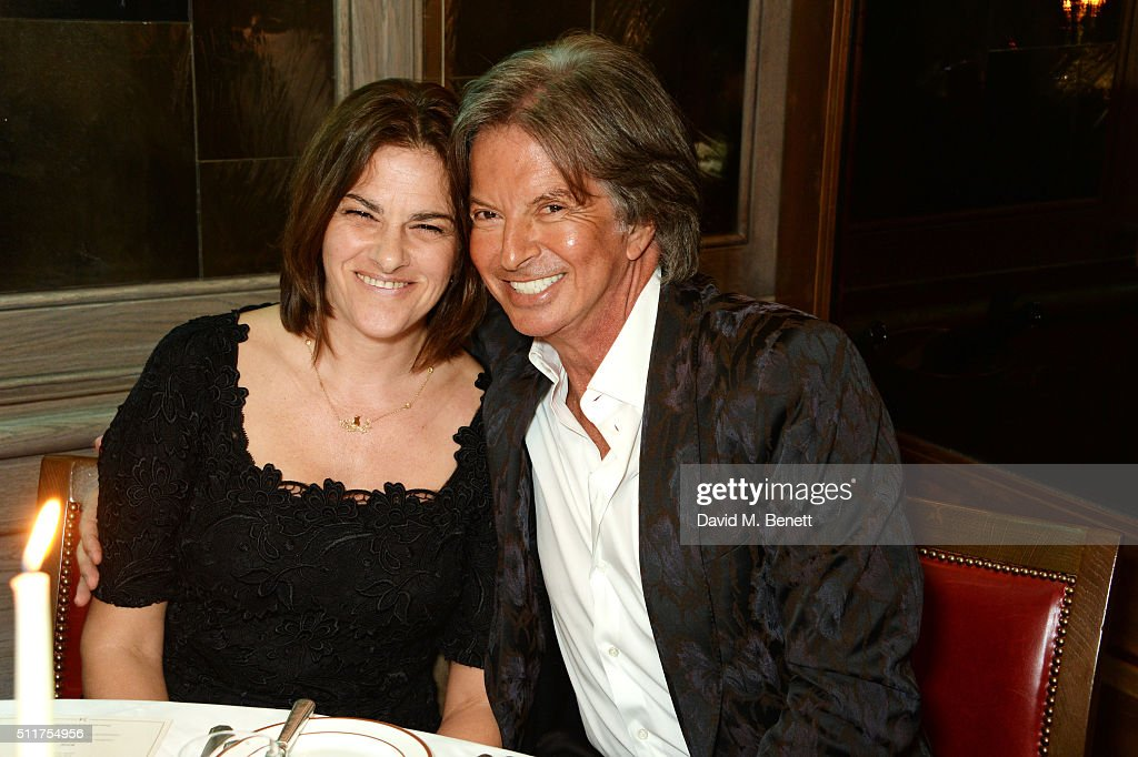Tracey Emin (L) and Richard Caring attend the launch of Tracey Emin and Stephen Webster's new jewellery collection 'I Promise To Love You' at 34 Grosvenor Square on February 22, 2016 in London, England.