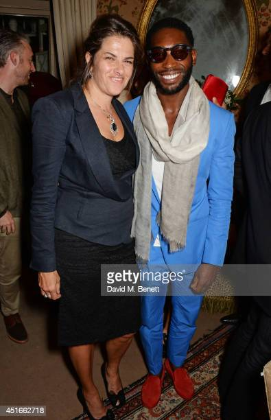 Tracey Emin and Tinie Tempah attend Tracey Emin's birthday party at Mark's Club on July 3 2014 in London England