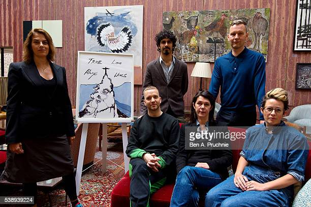 Tracey Emin Benjamin Senior Eddie Peake Sarah Jones David Shrigley and Anne Hardy pose next to the piece True Love Always Wins by Tracey Emin as the...