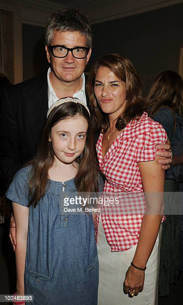 Tracey Emin Jay Joplin and Angelica Jopling attend the Private View of Tracey Emin's 'Walking With Tears' exhibition in the Sir Hugh Casson room at...