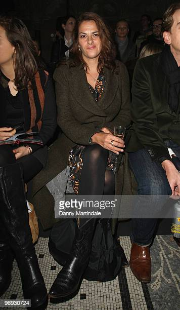 Tracey Emin poses on the front row at the Vivienne Westwood Red Label show for London Fashion Week Autumn/Winter 2010 at on February 21 2010 in...
