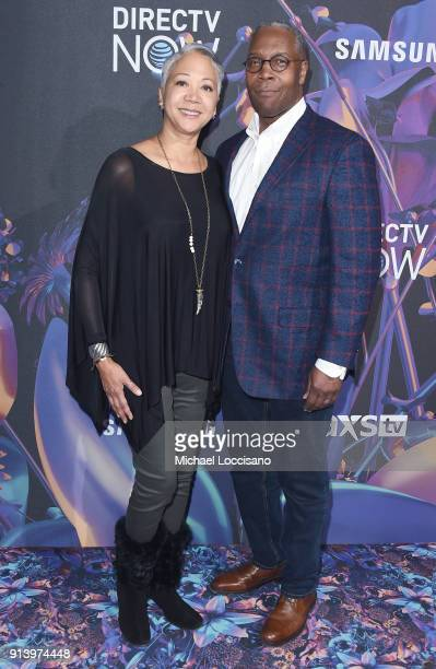 Tracey Huntley and ATT Senior EVP and COO David Huntley attend the 2018 DIRECTV NOW Super Saturday Night Concert at NOMADIC LIVE at The Armory on...
