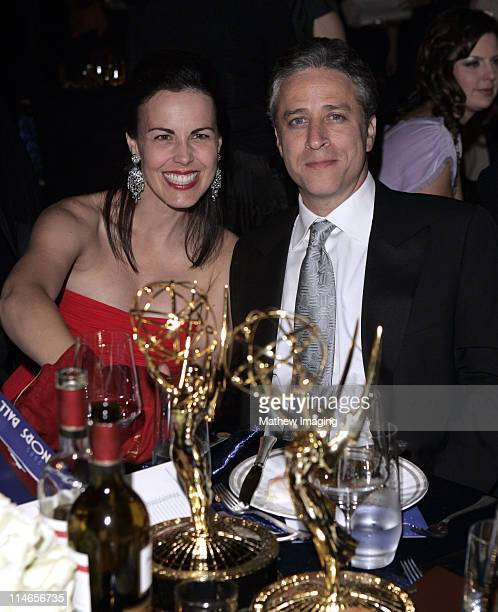 Tracey Lynn Stewart and Jon Stewart during 57th Annual Primetime Emmy Awards Governors Ball at The Shrine in Los Angeles California United States