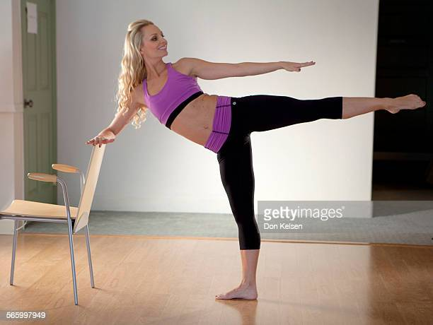 – – Tracey Mallett demonstrates the Plie side kick PHOTOGRAPHED TUESDAY FEBRUARY 28 2012