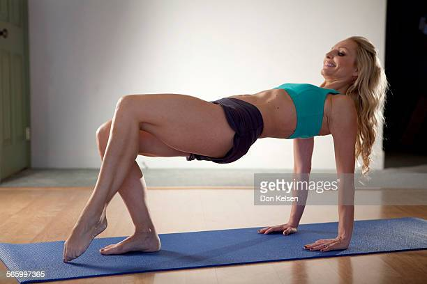 – – Tracey Mallett demonstrates the Tricep kicks PHOTOGRAPHED TUESDAY FEBRUARY 28 2012