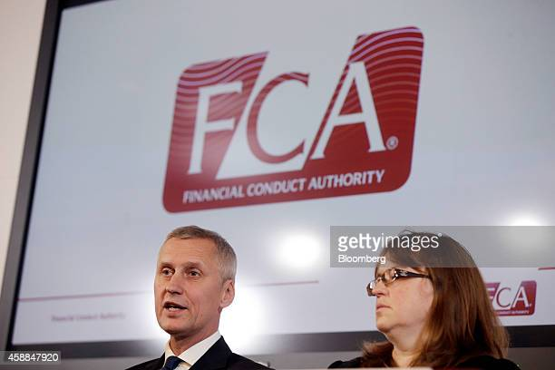 Tracey McDermott director of enforcement and financial crime at the Financial Conduct Authority right listens as Martin Wheatley chief executive...