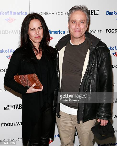 Tracey McShane and husband Jon Stewart arrives at Bank of America and Food Wine with The Cinema Society present a screening of 'A Place at the Table'...