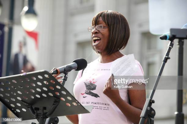 Tracey Mixon a peer organizer at the Coalition for Homelessness speaks onstage at the Women's March San Francisco in Civic Center Plaza on January 19...
