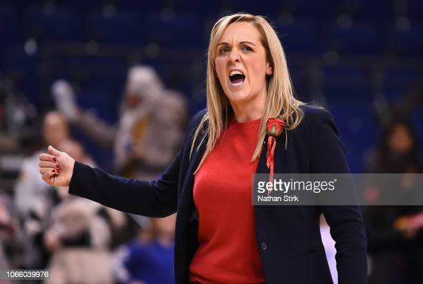 Tracey Neville coach of England Roses looks on during the Vitality Netball International Series match between England and Uganda at the Echo Arena on...