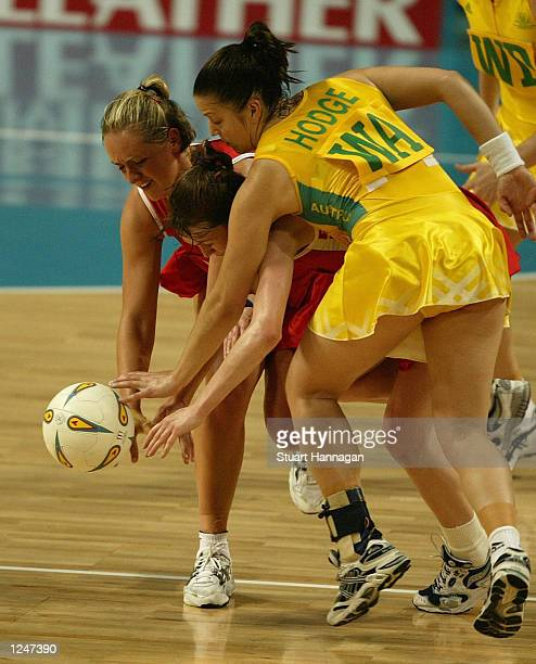 Tracey Neville of England Olivia Murphy of England and Alex Hodge of Australia fight for ball the during the match between England and Australia at...