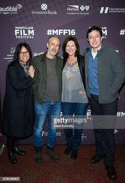 Tracey Stewart Jon Stewart Stephen Colbert and Evie Colbert attend the Montclair Film Festival 2016 on May 7 2016 in Montclair City