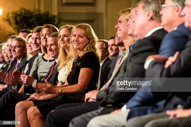 Tracey Stewart wife of the late golfer Payne Stewart and their daughter Chelsea left attend the Payne Stewart Award ceremony for Ernie Els held...