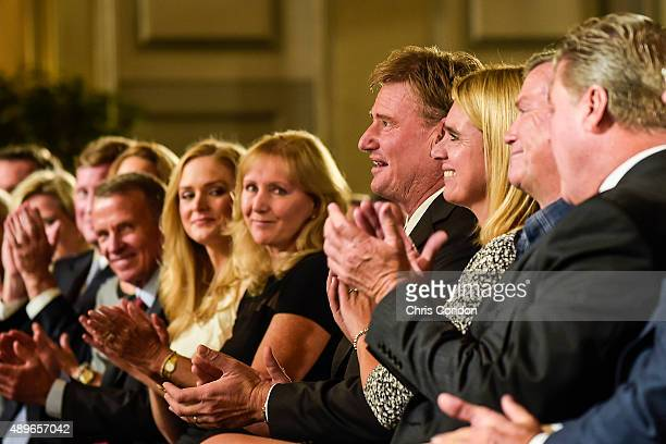 Tracey Stewart, wife of the late golfer Payne Stewart, and their daughter Chelsea attend the Payne Stewart Award ceremony for Ernie Els, center, held...