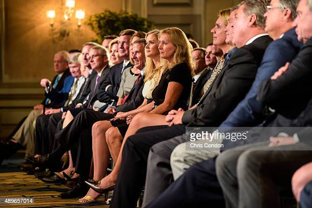 Tracey Stewart wife of the late golfer Payne Stewart their daughter Chelsea and PGA TOUR Commissioner Tim Finchem attend the Payne Stewart Award...