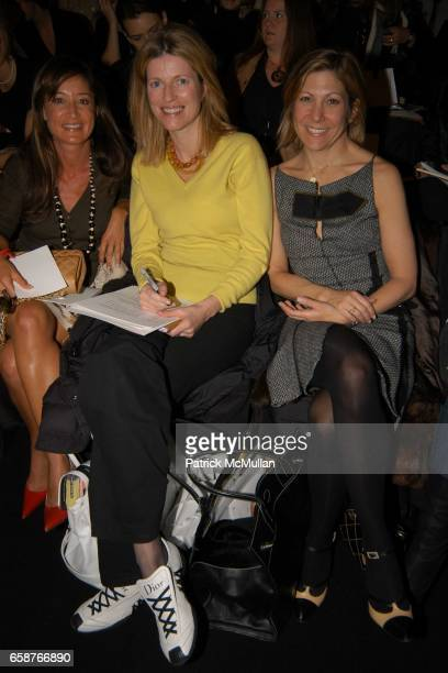 Tracey Taylor Lucy Sykes and Leslie Jane Seymour attend At the Carolina Herrera Fashion Show at Bryant Park Tents on February 9 2004 in New York City