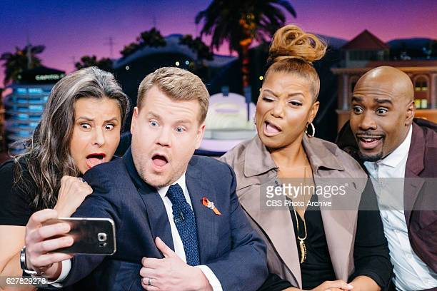Tracey Ullman Queen Latifah and Morris Chestnut chat with James Corden during The Late Late Show with James Corden Thursday December 1 2016 On The...