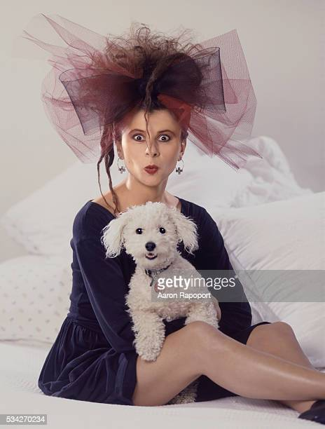 Tracey Ullman shot in Los Angeles california with her dog for Esquire Magazine in 1986