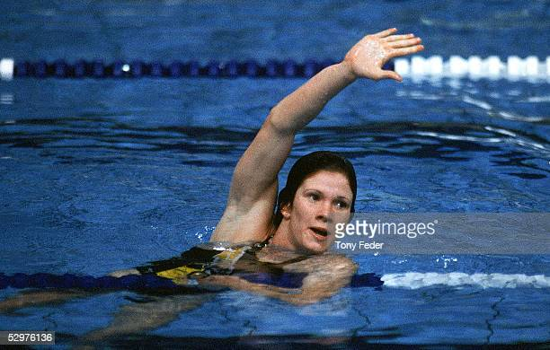 Tracey Wickham of Australia waves to the crowd after winning the Womens 800m Freestyle event during the 1982 Commonwealth Games held in Brisbane...