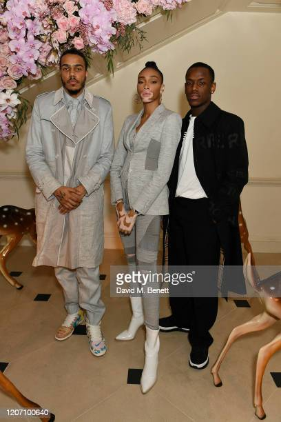 AJ Tracey Winnie Harlow and Micheal Ward attend the Burberry Autumn/Winter 2020 show after party hosted by Riccardo Tisci on February 17 2020 in...