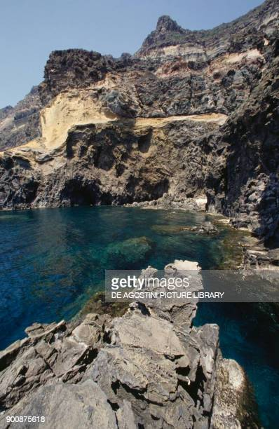 Trachytic formations with quartz and mamelon opal deposits Pantelleria island Sicily Italy