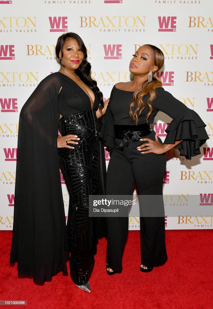 Traci Braxton and Phaedra Parks attend WE tv and Traci Braxton celebrate the new season of Braxton Family Values at The Skylark on August 21, 2018 in New York City.