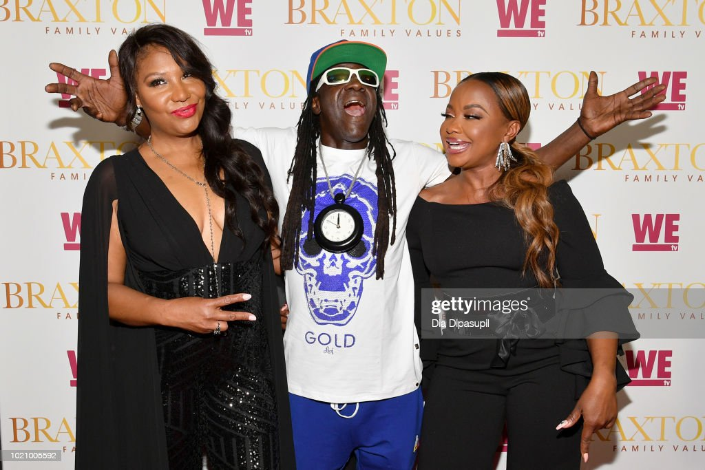 Traci Braxton, Flavor Flav and Phaedra Parks attend WE tv and Traci Braxton celebrate the new season of Braxton Family Values at The Skylark on August 21, 2018 in New York City.
