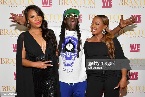 Traci Braxton, Flavor Flav and Phaedra Parks attend WE tv and Traci Braxton celebrate the new season of Braxton Family Values at The Skylark on...