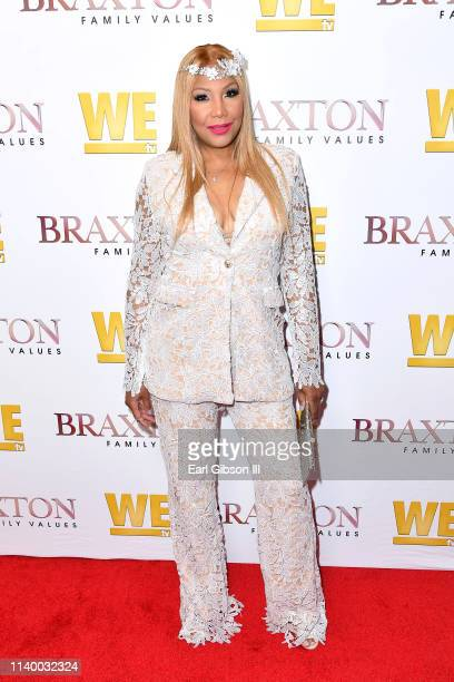 "Traci Braxton is seen as We TV celebrates the premiere of ""Braxton Family Values"" at Doheny Room on April 02, 2019 in West Hollywood, California."