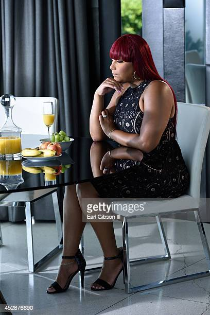 """Traci Braxton on the set of her Video Shoot for her song entitled """"Last Call"""" on July 28, 2014 in Los Angeles, California."""