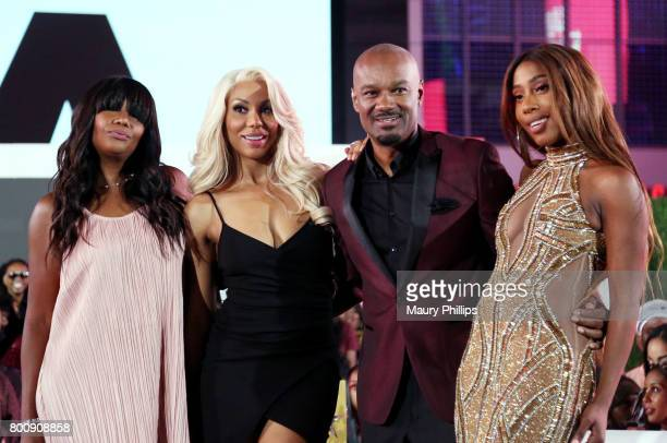 Traci Braxton, Tamar Braxton, Big Tigger, and Sevyn Streeter at the Post Show for the 2017 BET Awards on June 25, 2017 in Los Angeles, California.
