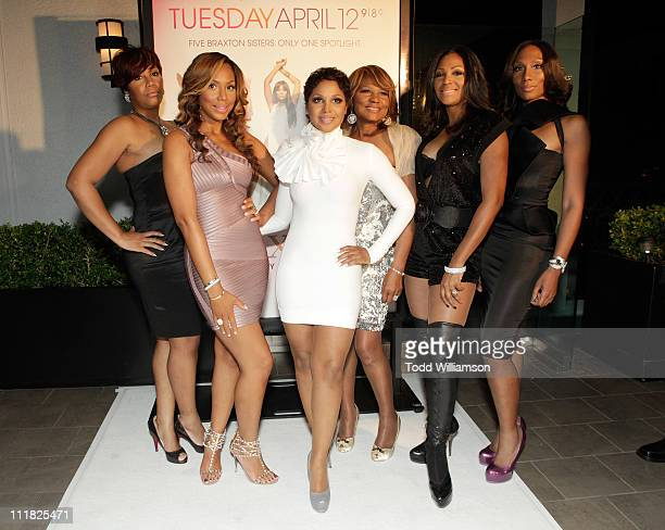 "Traci Braxton, Tamar Braxton, Toni Braxton, Evelyn Braxton, Trina Braxton and Towanda Braxton attend the WE tv's new series ""Braxton Family Values""..."