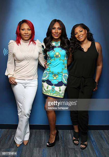 Traci Braxton, Towanda Braxton and Trina Braxton visit SiriusXM Studio on May 16, 2016 in New York City.